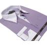 Elegancka koszula męska SLIM podwójny biały kołnierzyk FIOLETOWA W PASKI
