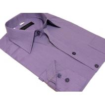 Wizytowa koszula męska na spinki lub guzik FIOLETOWA w paski
