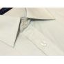 Wizytowa koszula męska na spinki lub guzik beżowa w paski