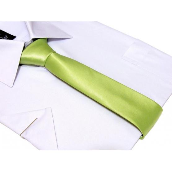 KRAWAT-ŚLEDŹ Pistacjowy perłowy gładki zielono-żołty