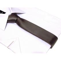Krawat-ŚLEDŹ BRĄZOWY-STALOWY perłowy gładki