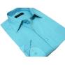 Koszula męska Slim Fit TURKUSOWA w paski z mankietem na spinki lub guzik
