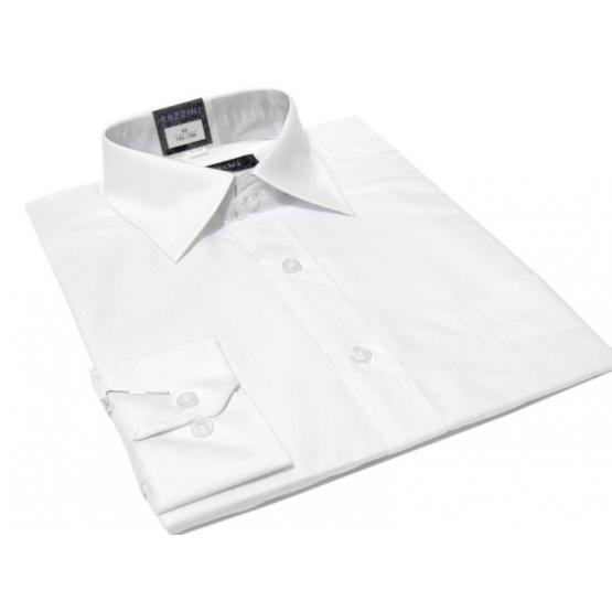 Koszula męska biała gładka klasyczna z mankietem na spinki lub guzik - Fazzini