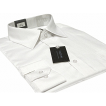 Koszula męska BIAŁA w drobny PRĄŻEK mankiet spinki guzik Fazzini