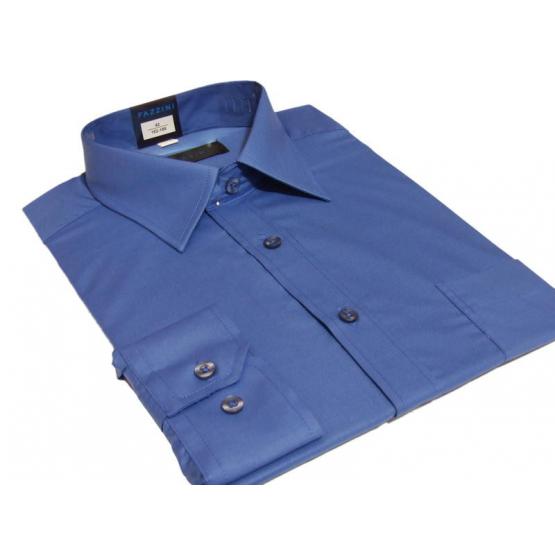 Wizytowa koszula męska niebieska gładka z mankietem na guzik lub spinki Fazzini.
