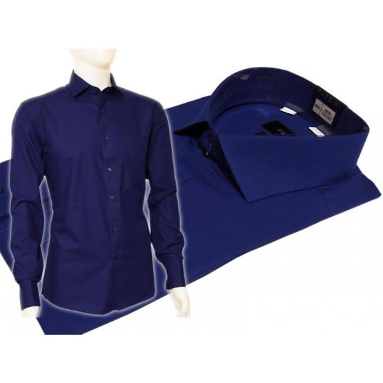 Koszula męska Slim Fit NIEBIESKA chabrowa z włoskim kołnierzykiem i mankietem na spinki lub guzik