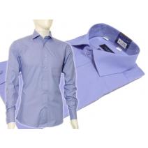 Koszula męska Slim Fit NIEBIESKA indygo z włoskim kołnierzykiem i mankietem na spinki lub guzik