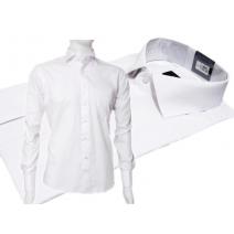 Biała koszula męska SLIM FIT spinki lub guzik