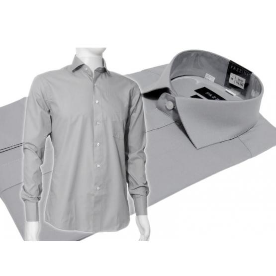 Szara koszula męska Slim Fit z włoskim kołnierzykiem i mankietem na spinki lub guzik