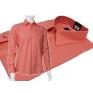 Wizytowa koszula męska koralowa z mankietem na guzik lub spinki Fazzini.