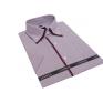 Koszula męska z podwójnym kołnierzykiem fioletowa-śliwkowa w białe paski