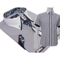 Koszula męska SLIM Japan Style biały kołnierzyk kolorowe wykończenia