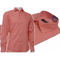 KORALOWA koszula męska Slim Fit na spinki lub guzik