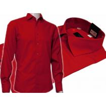 CZERWONA koszula męska Slim Fit na spinki lub guzik