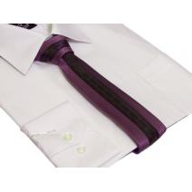 KRAWAT fioletowy w drobną kratkę ze wzorem