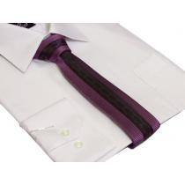 Wąski KRAWAT śledź fioletowy w drobną kratkę ze wzorem