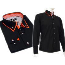 Czarna koszula SLIM FIT podwójny kołnierzyk button down czerwone wykończenia