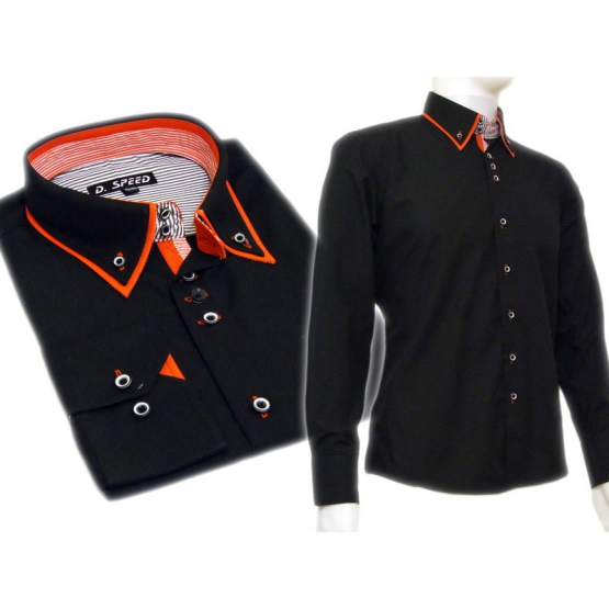 Czarna koszula SLIM FIT kołnierzyk button down czerwone wykończenia