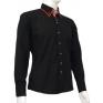 Czarna koszula męska SLIM FIT kołnierzyk button down czerwone wykończenia na manekinie