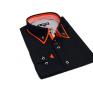 Czarna koszula męska SLIM FIT kołnierzyk button down czerwone wykończenia