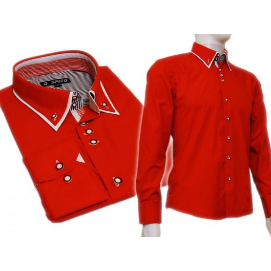 Czerwona koszula SLIM FIT kryta plisa kołnierzyk button down białe wykończenia