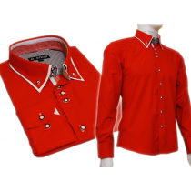 Czerwona koszula SLIM FIT podwójny kołnierzyk button down białe wykończenia