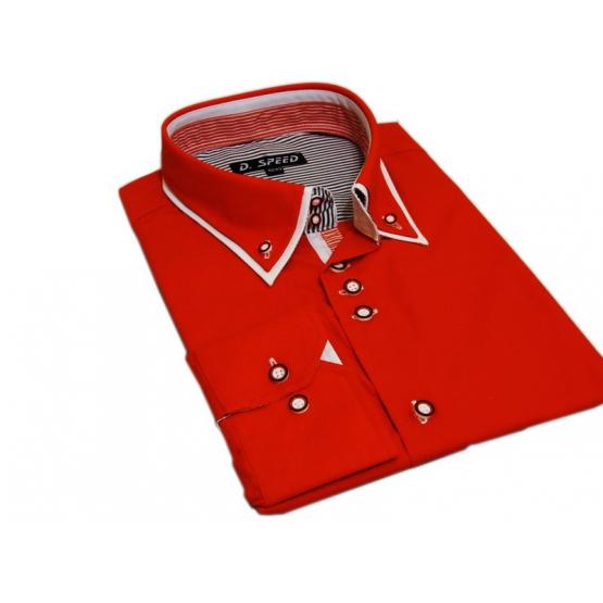 Czerwona koszula SLIM FIT z krytą plisą kołnierzyk button down białe wykończenia