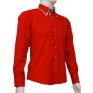 Czerwona koszula SLIM FIT kryta plisa kołnierzyk button down białe wykończenia na manekinie