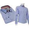 Niebieska koszula SLIM FIT kryta plisa kołnierzyk button down granatowe wykończenia