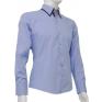 Niebieska koszula SLIM FIT kryta plisa kołnierzyk button down granatowe wykończenia na manekinie