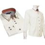 KREMOWA elegancka koszula SLIM FIT kryta plisa kołnierzyk button down ecrue