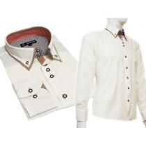 Elegancka koszula męska SLIM podwójny kołnierzyk button down ecru kremowa