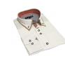 KREMOWA koszula meska SLIM FIT kryta plisa kołnierzyk button down ecrue