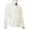 KREMOWA koszula SLIM FIT kryta plisa kołnierzyk button down ecrue na manekinie