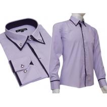 Koszula SLIM FIT z krytą plisą kołnierzyk button down fiolet paski