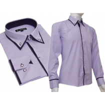 Modna koszula SLIM FIT kryta plisa button down fiolet paski