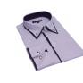 Elegancka koszula SLIM FIT z krytą plisą kołnierzyk button down fiolet paski,