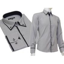 Grafitowa koszula SLIM FIT z krytą plisą kołnierzyk button down czarne wykończenia paski