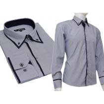 Elegancka grafitowo-niebieska koszula męska SLIM button down