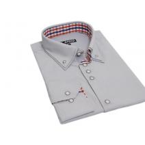 Elegancka koszula z podwójnym kołnierzykiem button down popielata w paski SLIM