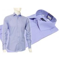 Niebieska koszula męska Slim Fit na spinki lub guzik Fazzini