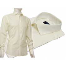Kremowa koszula męska Slim Fit na spinki lub guzik Fazzini ecru