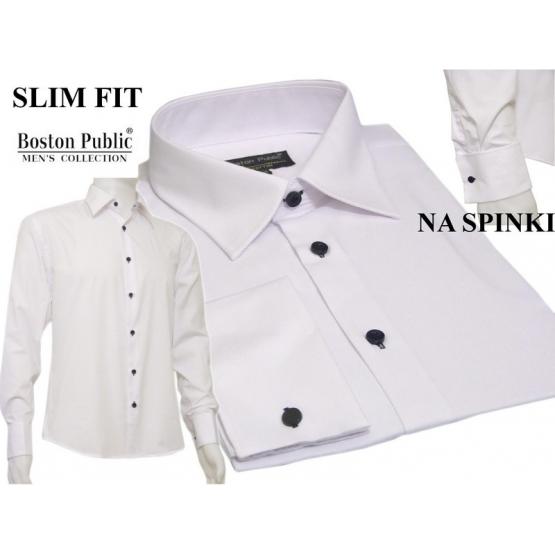 a9773130 Biała koszula męska Slim Fit mankiet na spinki
