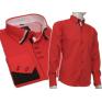 Wizytowa koszula męska z podwójnym kołnierzykiem czerwona slim