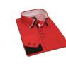 Koszula męska SLIM button down czerwona czarne wykończenia