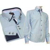 Koszula męska SLIM button down BŁĘKITNA jasno-niebieska