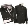 Koszula męska SLIM czarna kołnierzyk button down