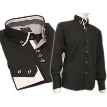Koszula męska SLIM czarna kołnierzyk button down białe wykończenia