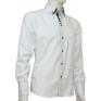 Biała koszula button down z czarnymi wykończeniami SLIM