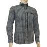 Koszula męska CASUAL Slim Fit kratka wykończenia jeans